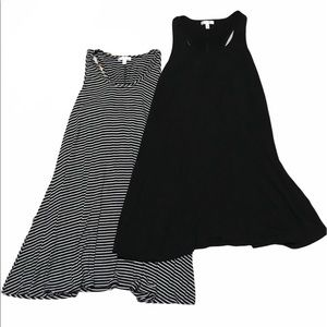 Lot of 2 Abound Mock Swift Striped Black Dresses